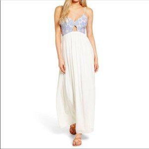 Tularosa Bryce Maxi Dress, Blue Cream, Lace Bodice